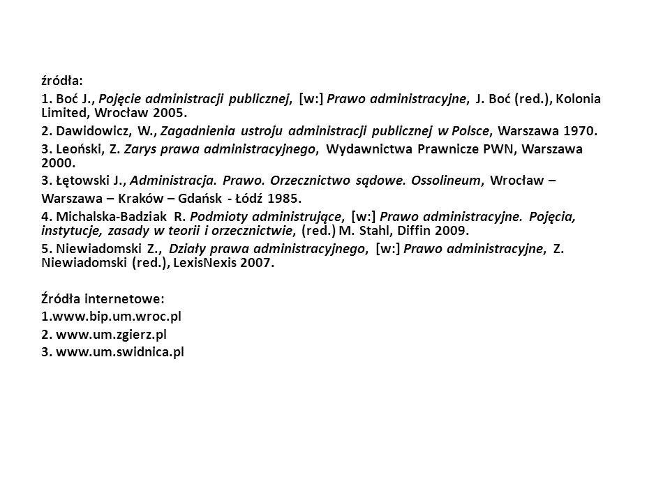źródła: 1. Boć J., Pojęcie administracji publicznej, [w:] Prawo administracyjne, J. Boć (red.), Kolonia Limited, Wrocław 2005.